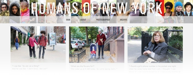 "Capture d'écran de la page d'accueil Tumblr ""Humans of New York"""