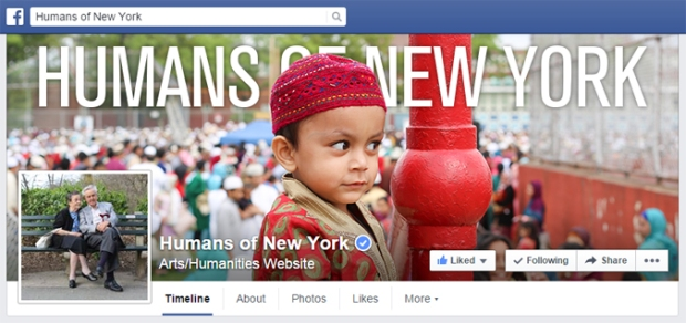 "Capture d'écran de la page d'accueil Facebook de ""Humans of New York"""