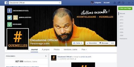Le compte Facebook, géré par le staff de l'humoriste, qui enregistre actuellement le plus de «j'aime» est «Dieudonné Officiel» avec plus de 825'000 fans.