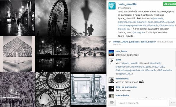 Exemple d'un post de la ville de Paris sur Instagram