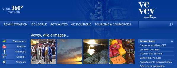 Page d'accueil du site web de Vevey
