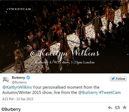 burberry tweetcam digital