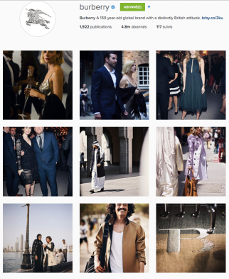 Burberry digital instagram