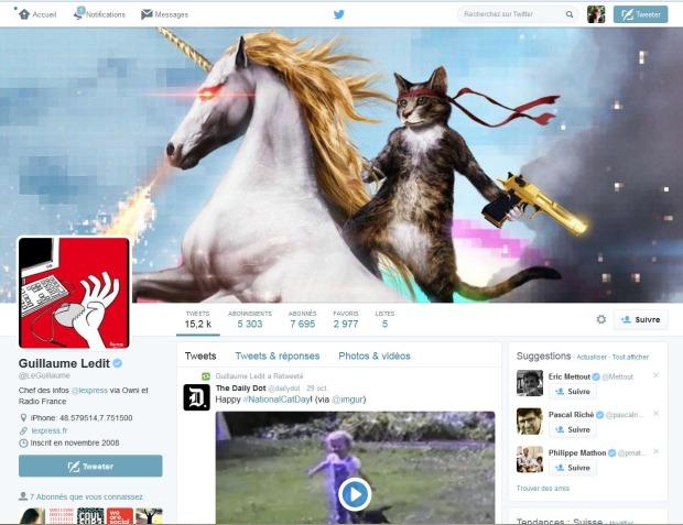 Page Twitter de Guillaume Ledit, chef des informations à L'Express