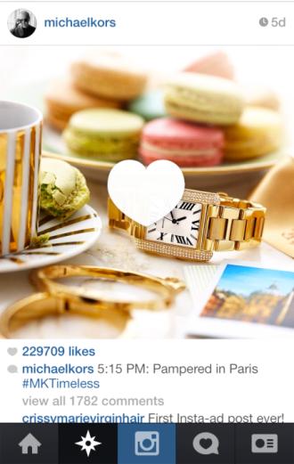 Michael Kors - 1ère photo sponsorisée sur Instagram - novembre 2013