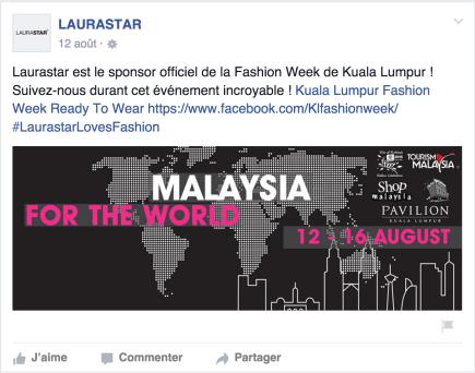Sponsoring de Laurastar en Malaisie