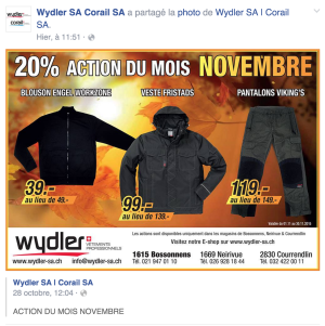 Publicité promotionnelle sur Facebook
