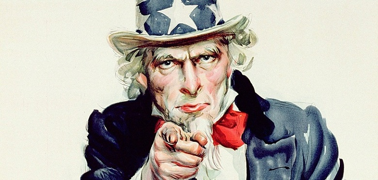 SIT306068 'I Want You for U.S. Army', American World War One recruitment poster (colour litho) by Flagg, James Montgomery (1877-1960); Private Collection; (add.info.: Uncle Sam, national personification of the United States;); DaTo Images; American,  in copyright  PLEASE NOTE: This image is protected by the artist's copyright which needs to be cleared by you. If you require assistance in clearing permission we will be pleased to help you.