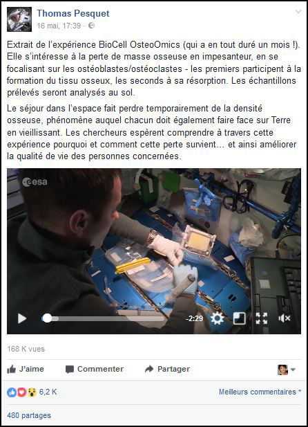 Post Facebook sur expérience scientifique