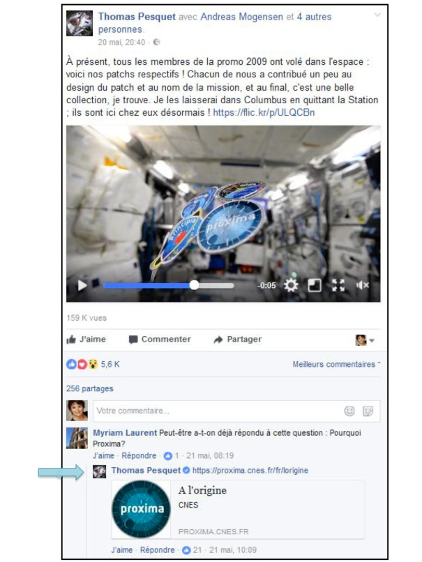 Réponse de Thomas Pesquet sur Facebook