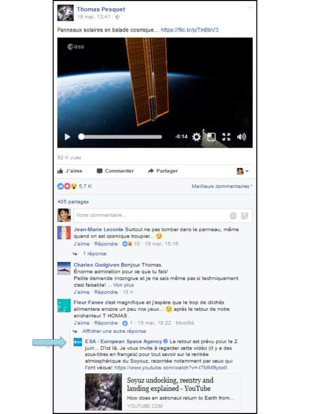 Réponse de l'ESA sur Facebook