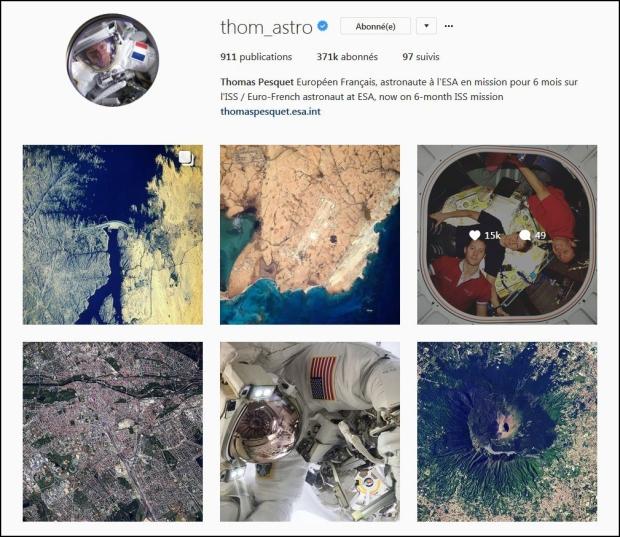 Page d'accueil de Thomas Pesquet sur Instagram