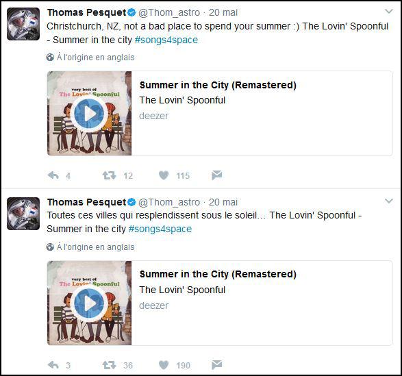 Tweet en musique de Thomas Pesquet