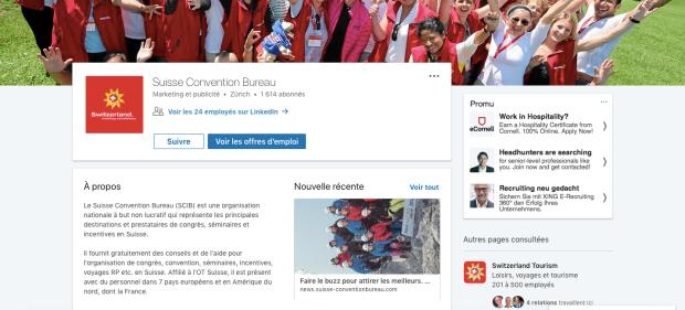 Page de profil LinkedIn du Suisse Convention Bureau
